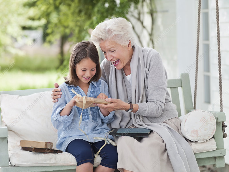 Woman giving granddaughter present