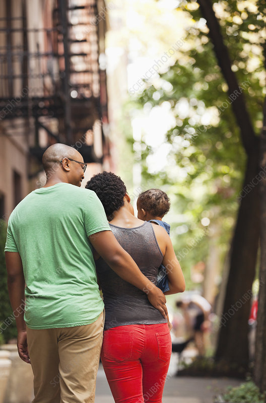Family walking together on city street
