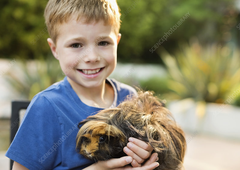 Smiling boy holding guinea pig outdoors