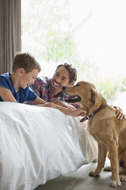 Father and son petting dog in bedroom