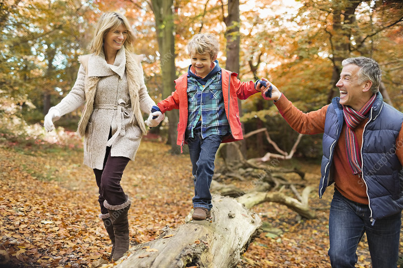 Family walking on log in park