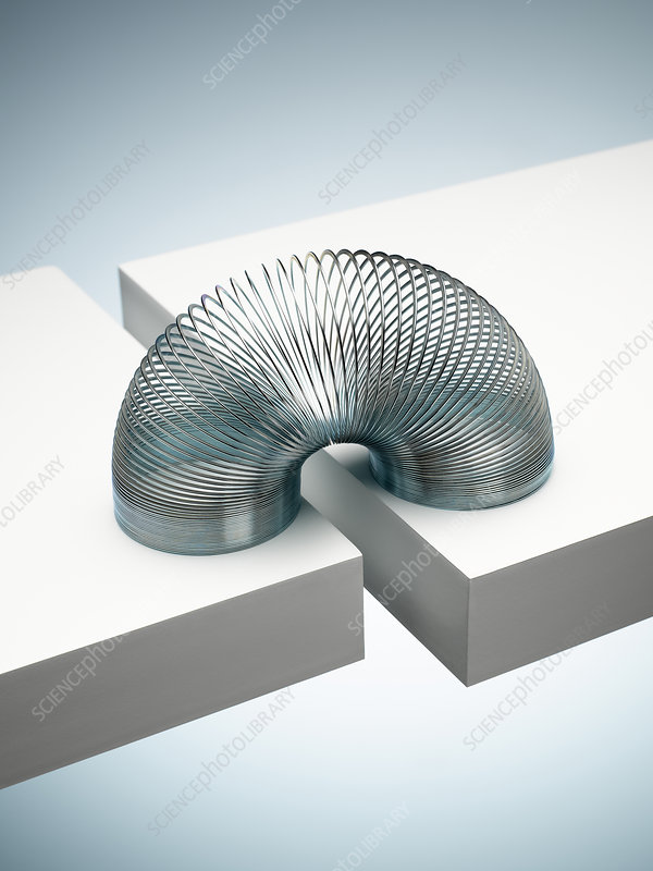 Metal slinky spanning space