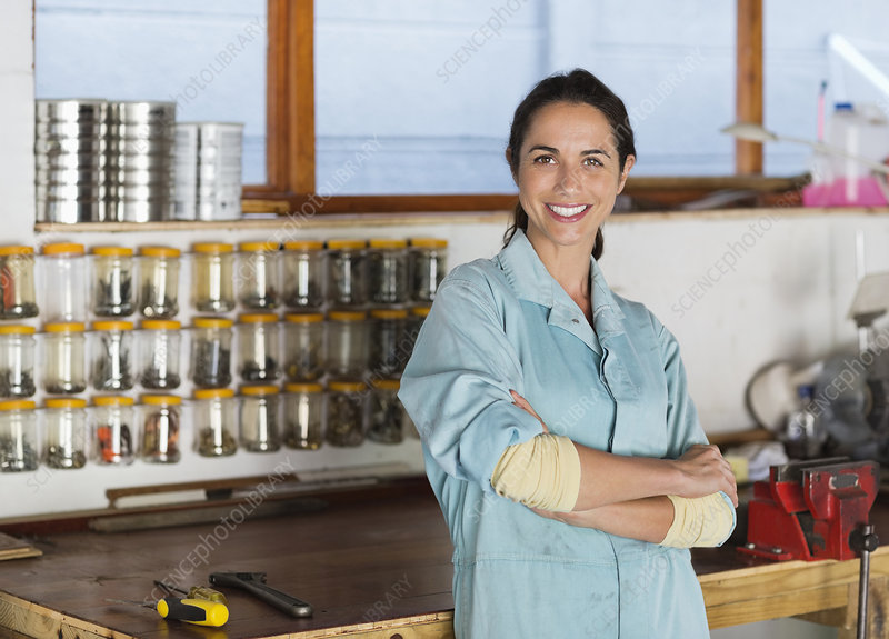 Woman smiling in workshop