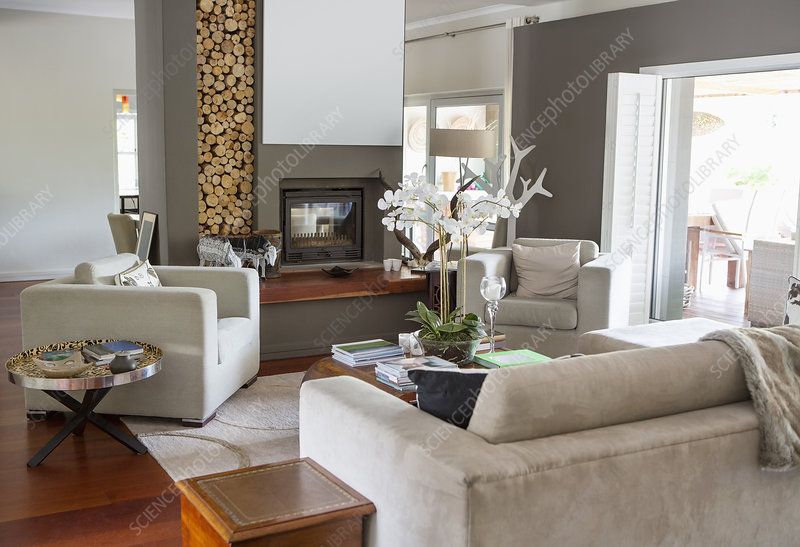 Sofa and armchairs in modern living room