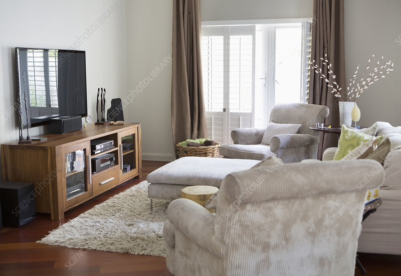 Television and armchairs in living room