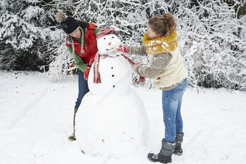 Mother and daughter making snowman