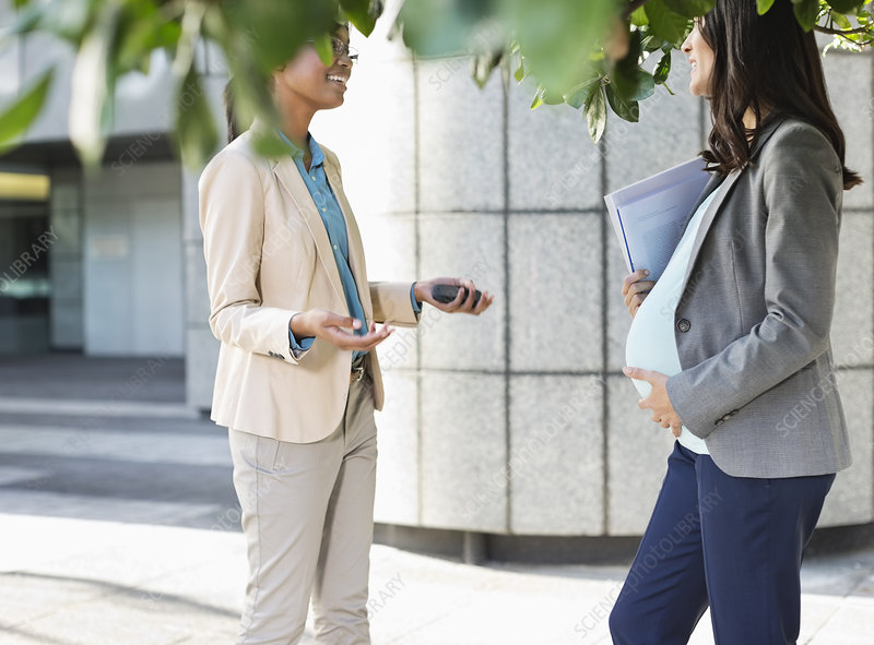 Businesswomen talking on city street