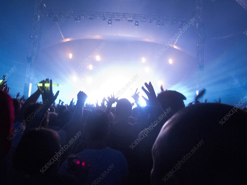 Silhouette of crowd facing stage