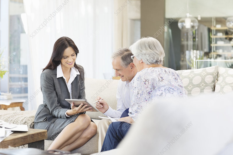 Financial advisor using tablet computer