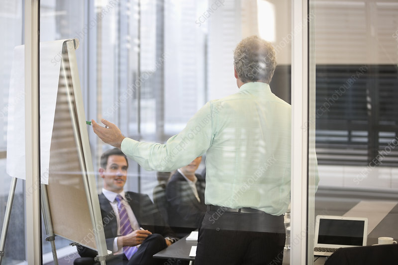 Businessman at flipchart in meeting