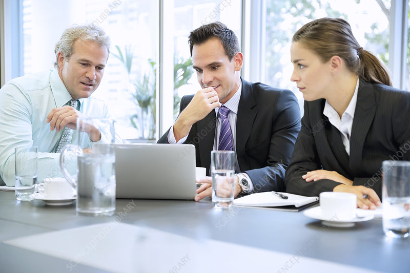 Business people sharing laptop in meeting