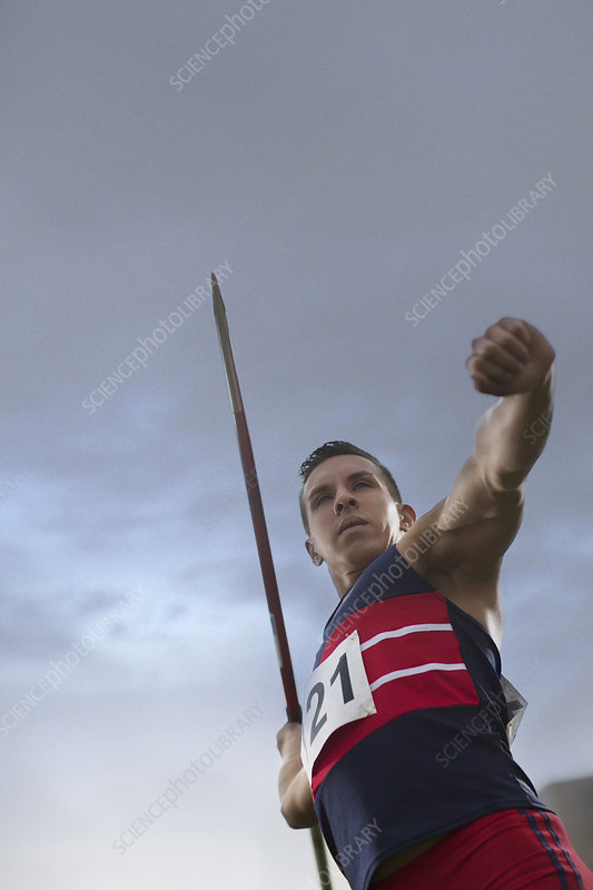 Track and field athlete holding javelin