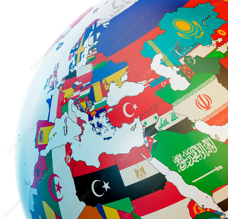 Globe with national flags, illustration
