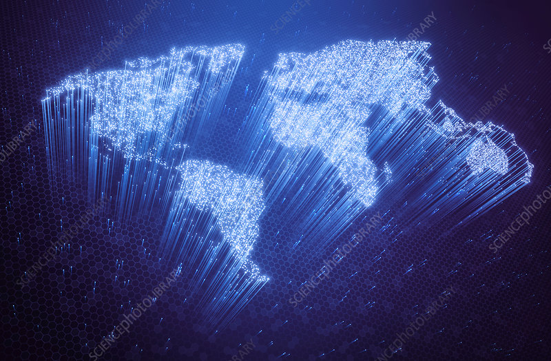 Fibre optic world map, illustration