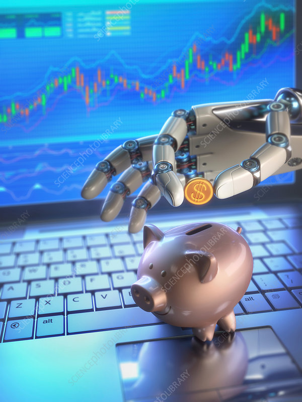 Robotic hand and piggy bank, illustration