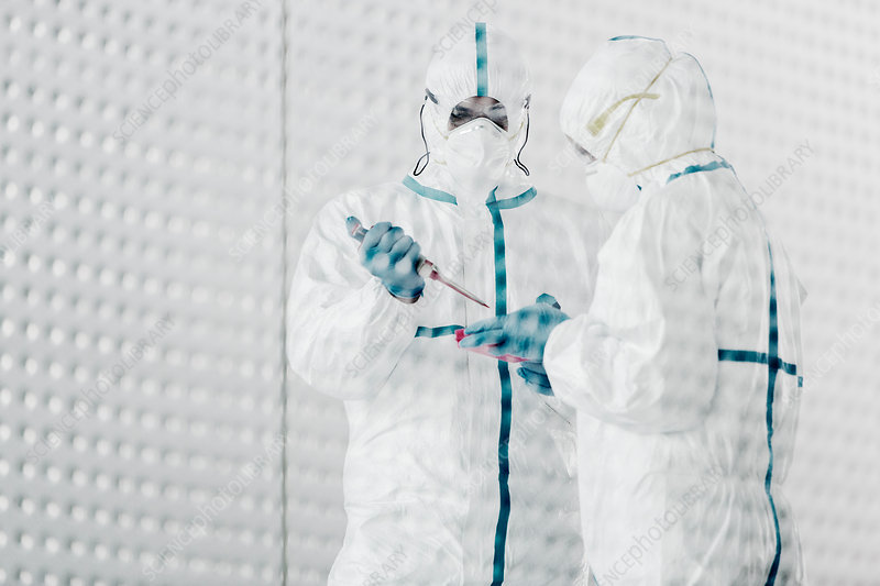 Scientists in clean suits