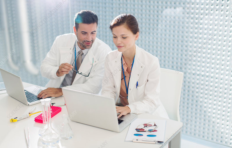 Doctors working at laptop