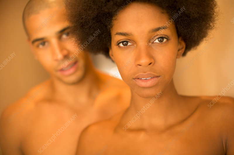 Close up of couple with bare chests