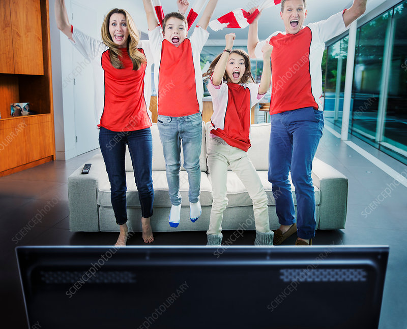 Family cheering in front of television