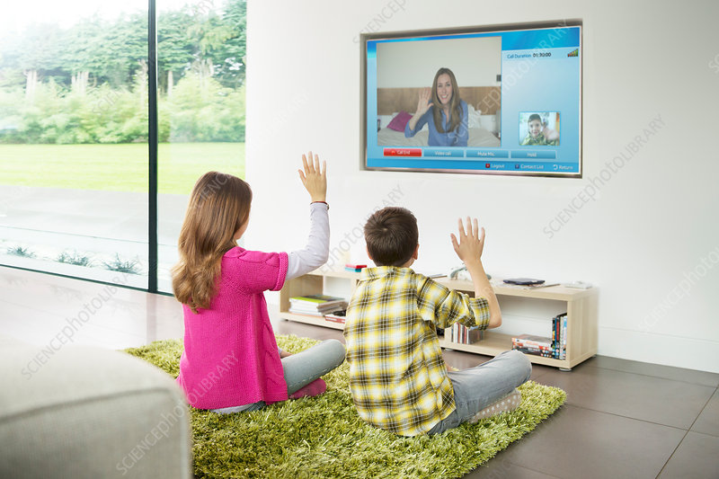 Children video chatting on television