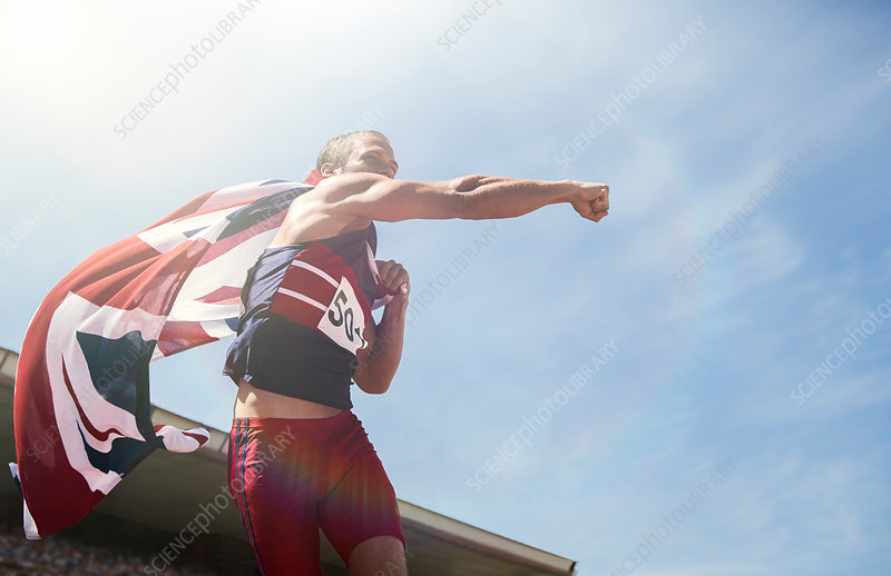 Track and field athlete cheering