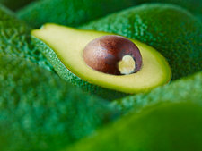Close up of sliced Pinkerton avocado