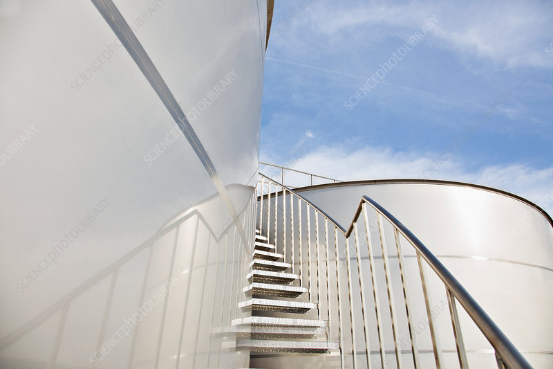 Stairs winding along storage tower