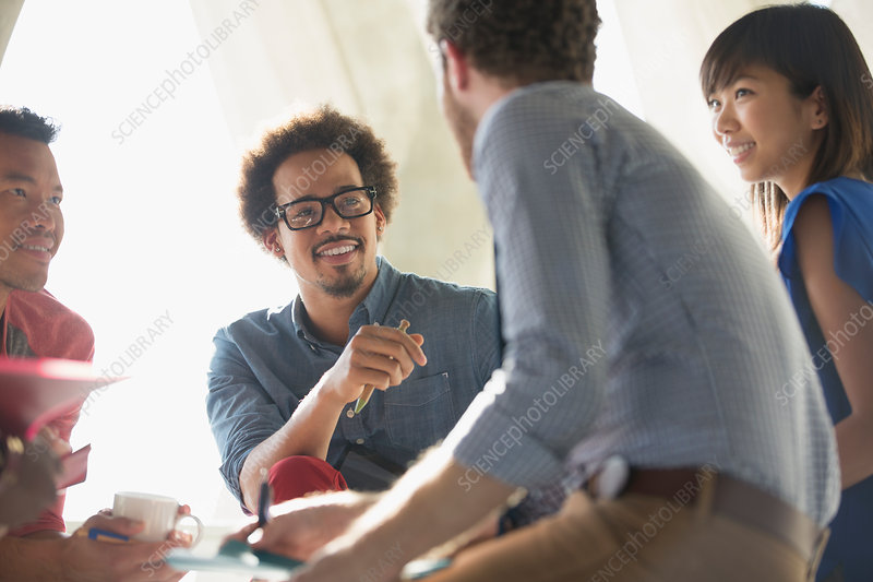 Casual business people talking in meeting