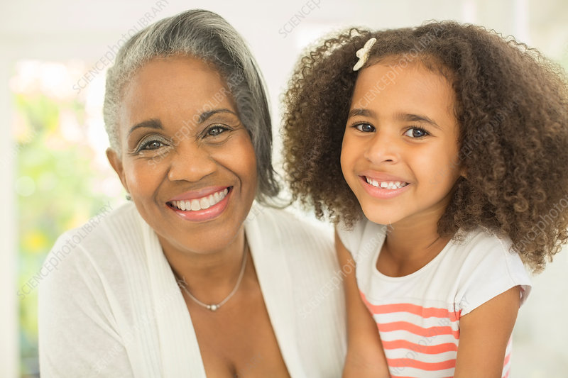 Close up Grandmother and granddaughter