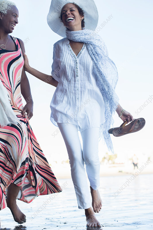 Women walking on beach