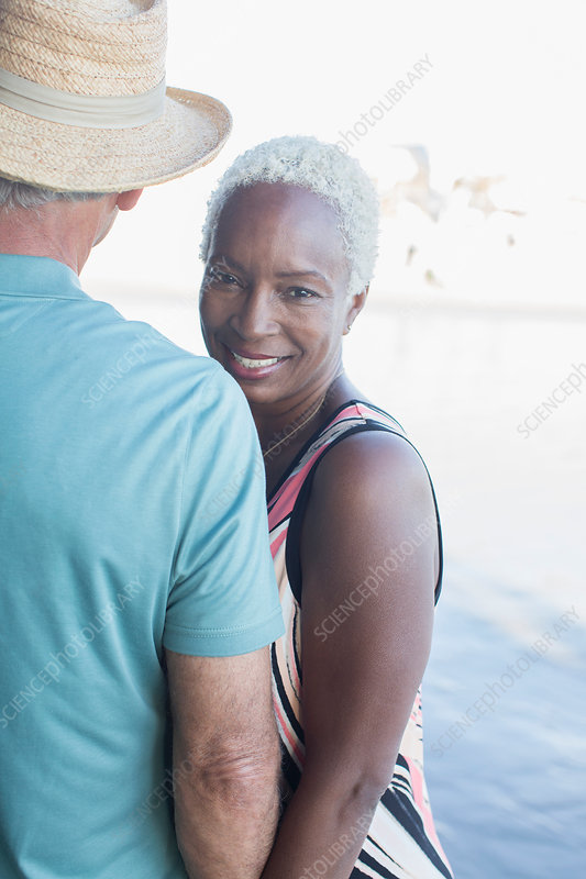 Portrait of senior couple on beach