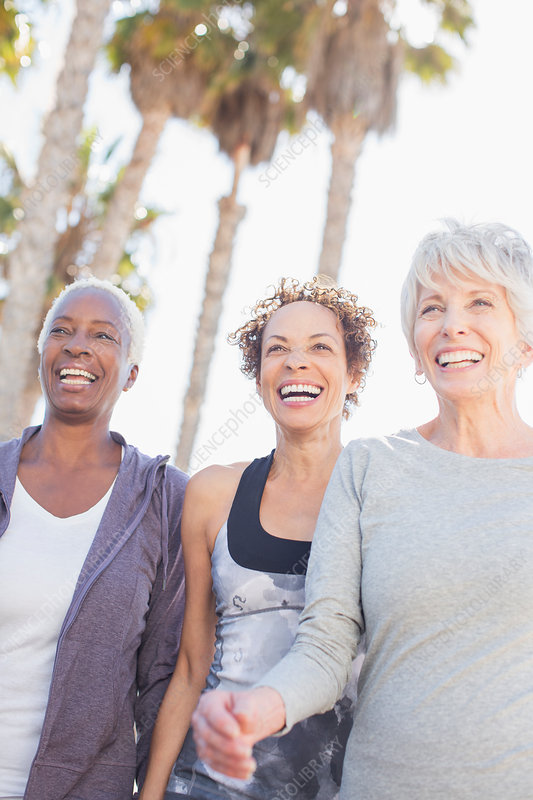 Senior women power walking outdoors