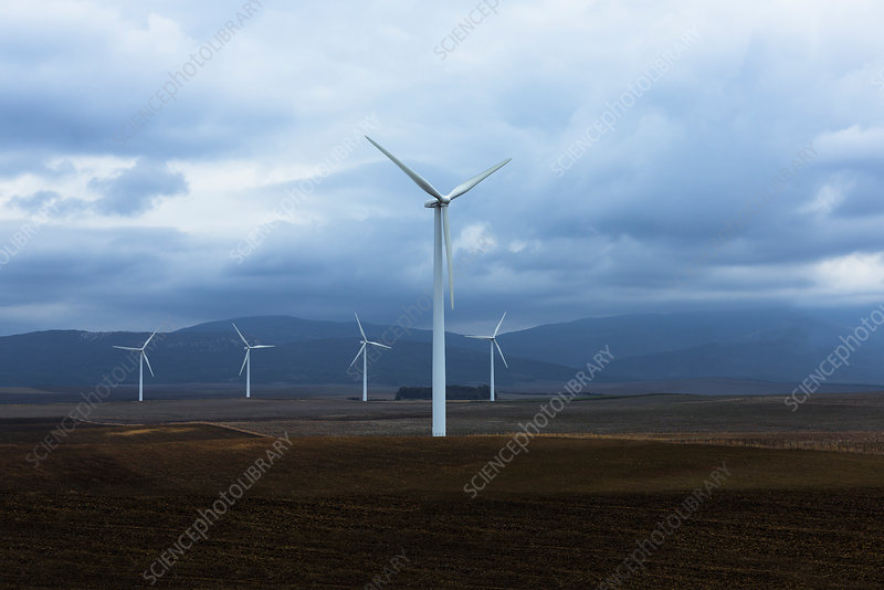 Wind farm in valley, Andalucia, Spain