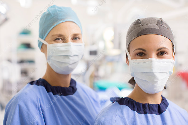 Portrait of female doctors wearing scrubs