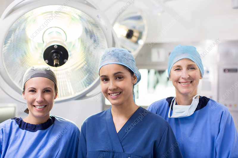 Portrait of three female surgeons