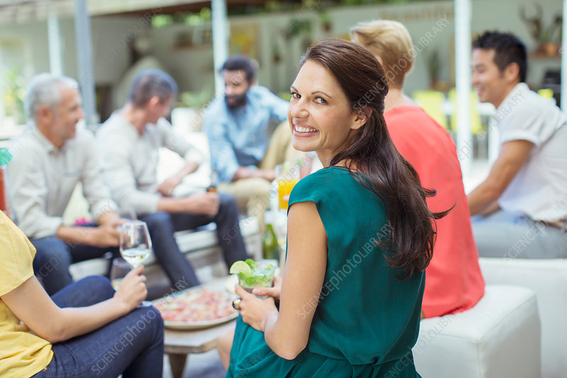 Woman smiling at party