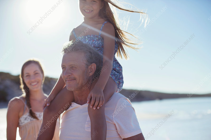 Father holding daughter on shoulders