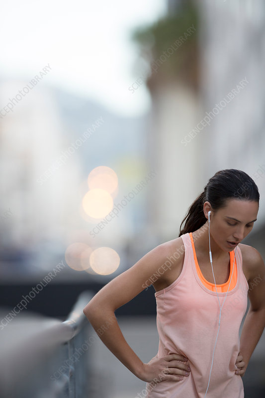 Woman resting after running