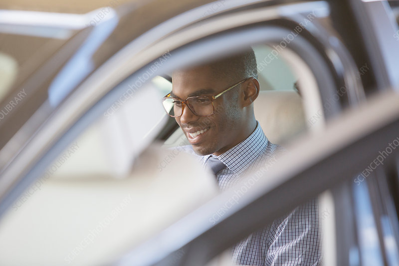 Smiling businessman sitting in car