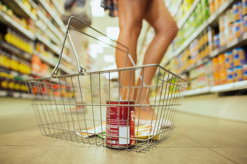 Shopping basket with can of soup