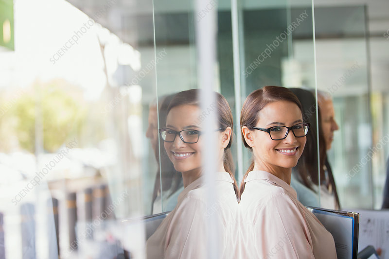 Businesswoman standing in office building