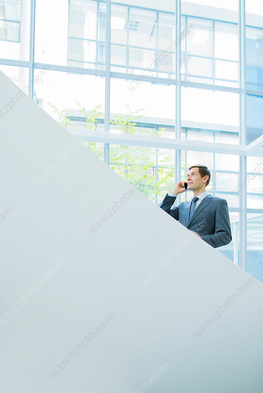 Businessman talking on office stairs