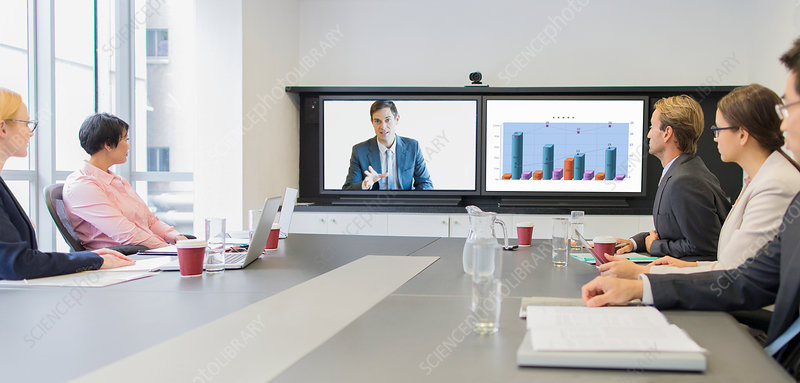 Business people using teleconference