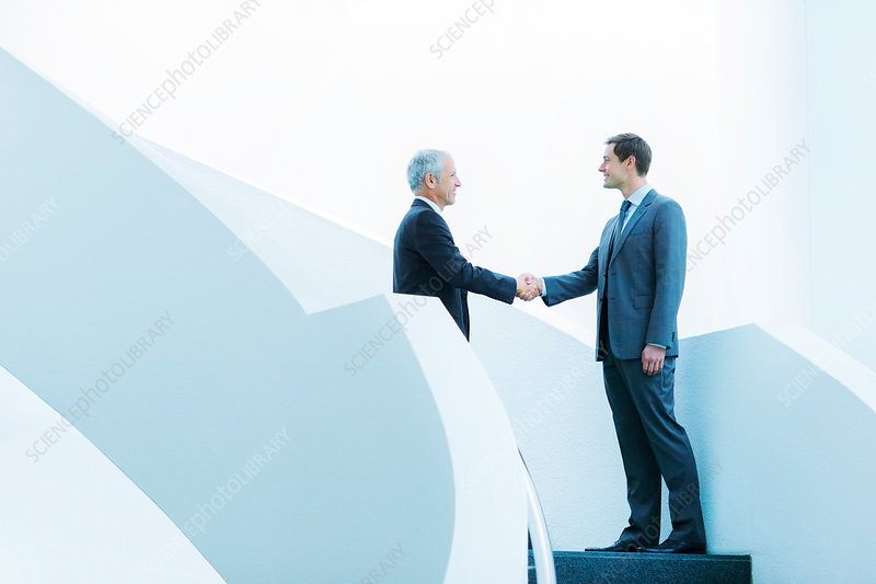 Businessmen shaking hands on staircase