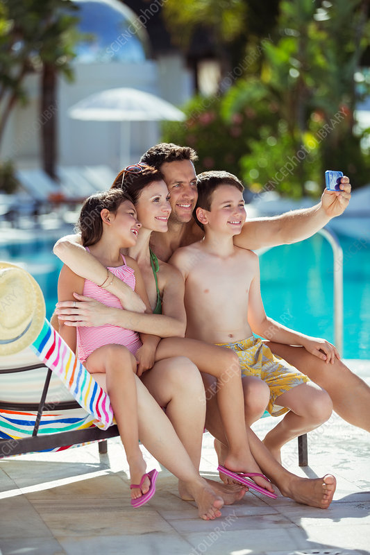 Family with two children taking selfie