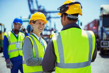 Business people with protective workwear