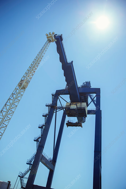 Low angle view of cargo crane