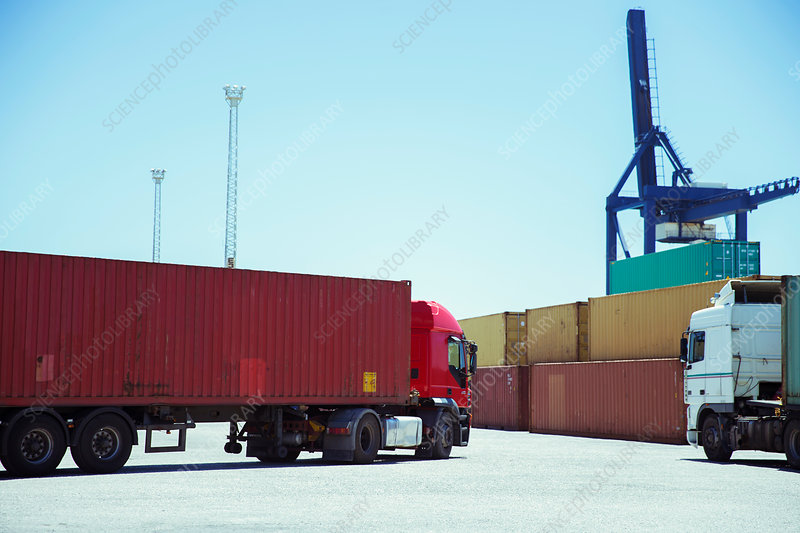 Truck carrying cargo container