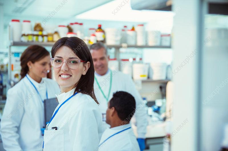 Scientist smiling in laboratory