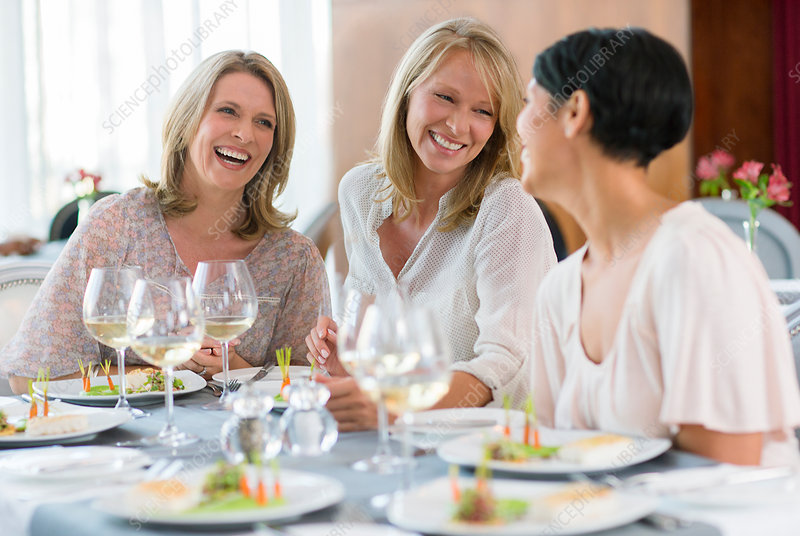 Women enjoying meal in restaurant